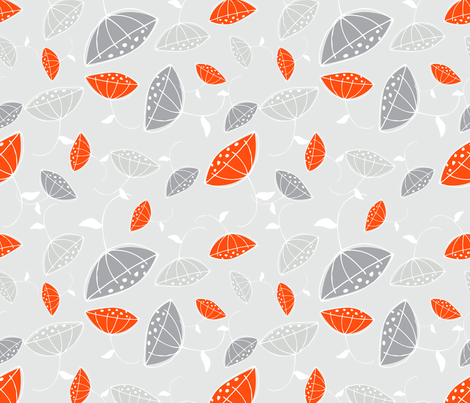 Modern Flowers on Grey fabric by emilyannstudio on Spoonflower - custom fabric