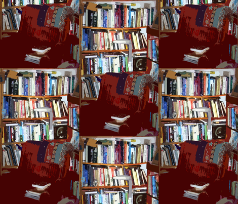 A cozy chair and books, books, books fabric by anniedeb on Spoonflower - custom fabric