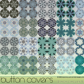 Button Cover Urchin Green and Blue