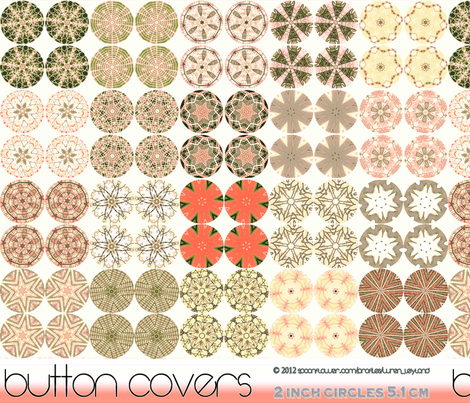 Button Covers in Coral, Taupe and Salmon