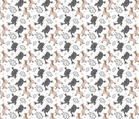 Chinese crested puppies and pawprints fabric by rusticcorgi on Spoonflower - custom fabric