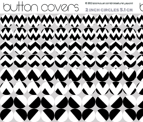 Bold Black and White Button Covers- chevrons fabric by wren_leyland on Spoonflower - custom fabric