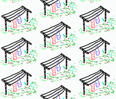 Clotheslines in a Half-Drop Repeat fabric by anniedeb on Spoonflower - custom fabric