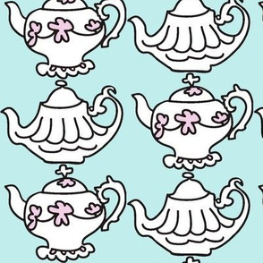Teapots for Teatime Sweets (lt. aqua &amp; lavender)