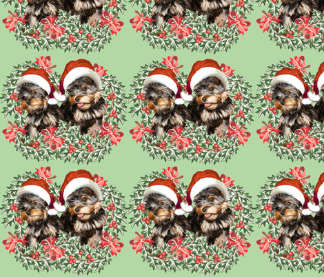 Yorkies and Christmas Holly fabric by dogdaze_ on Spoonflower - custom fabric
