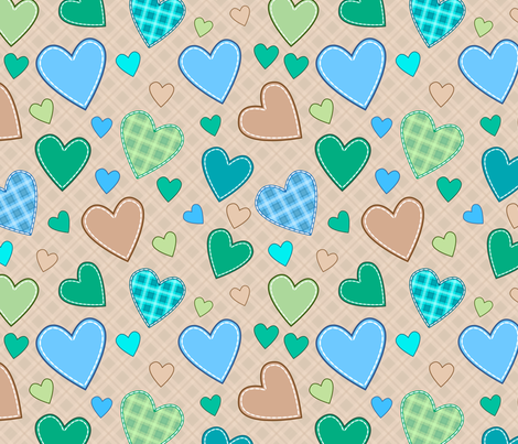 hearts_blue_green_illustration fabric by stewsha on Spoonflower - custom fabric