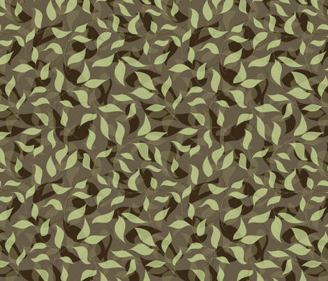 Brown and green leaves fabric by stewsha on Spoonflower - custom fabric
