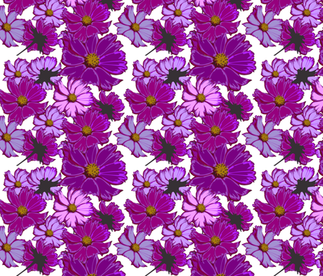cosmos-flowers fabric by cutiecat on Spoonflower - custom fabric