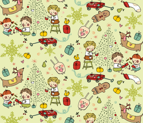 Little vintage christmas-ed fabric by laura_the_drawer on Spoonflower - custom fabric