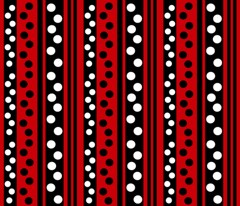 stripes-dots-on-red-back ground fabric by cutiecat on Spoonflower - custom fabric