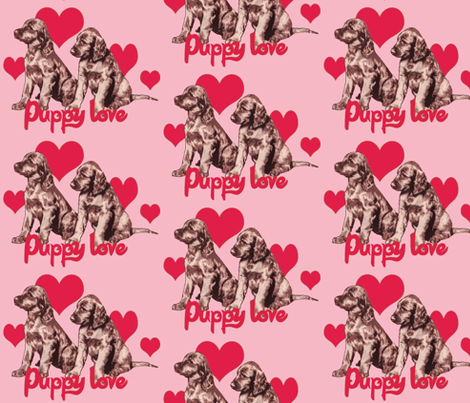 Irish Setter Puppies and Hearts fabric by dogdaze_ on Spoonflower - custom fabric