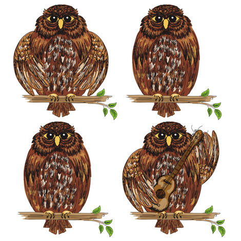 Cute Cartoon Owl Decals.  fabric by diane555 on Spoonflower - custom fabric