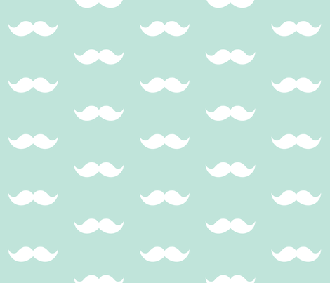 aqua mustaches fabric by tupelo_honey_fabrics on Spoonflower - custom fabric