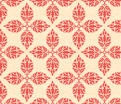 Floral Damask Design Wallpaper