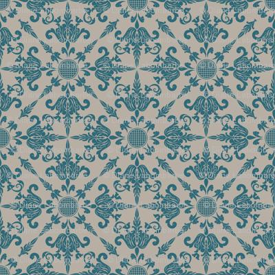 Teal Damask Wallpaper Design
