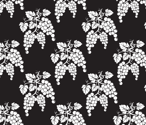 Damask Style Black & White Grapes fabric by diane555 on Spoonflower - custom fabric