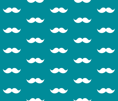teal mustaches fabric by tupelo_honey_fabrics on Spoonflower - custom fabric