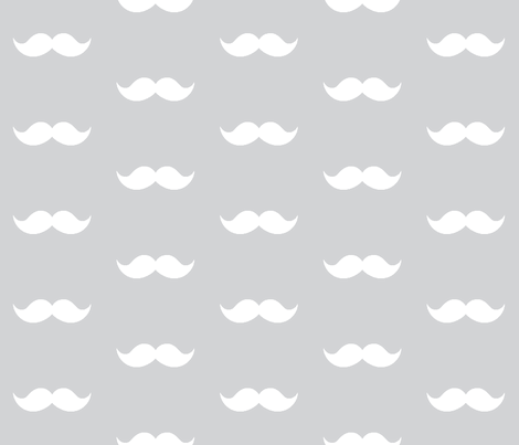 gray mustaches fabric by tupelo_honey_fabrics on Spoonflower - custom fabric