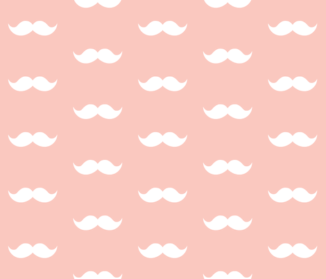 blush mustaches fabric by tupelo_honey_fabrics on Spoonflower - custom fabric