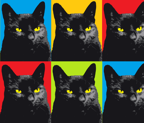 Black cat with yellow eyes fabric by saz09 on Spoonflower - custom fabric