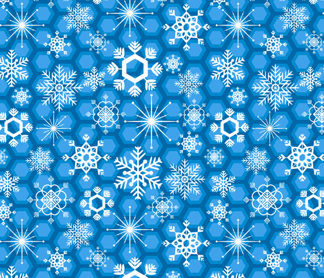 Snowflakes in Blue fabric by jubilli on Spoonflower - custom fabric