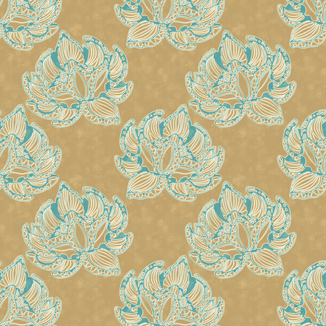 Lotus (gold) fabric by kirpa on Spoonflower - custom fabric