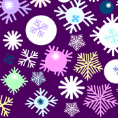 snowflakes on the purple background