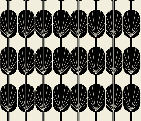 Fanpod black and champagne wallpaper-ch fabric by ninaribena on Spoonflower - custom fabric