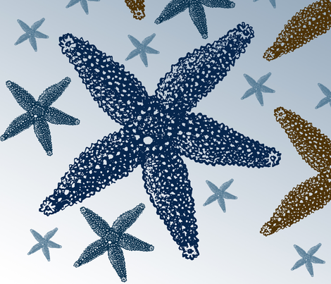 Blue and Gold Starfish fabric by peacefuldreams on Spoonflower - custom fabric