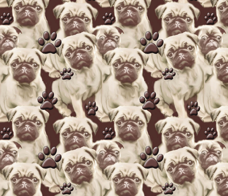Pugs and Paws Mural fabric by dogdaze_ on Spoonflower - custom fabric