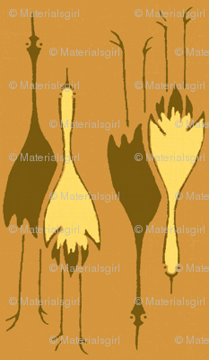 Cranes-  pumpkin, brown, yellow