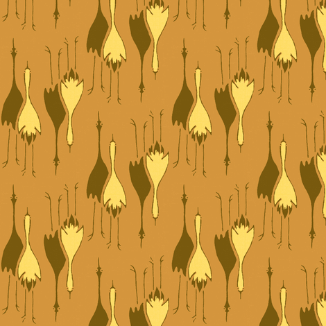 Cranes-  pumpkin, brown, yellow fabric by materialsgirl on Spoonflower - custom fabric