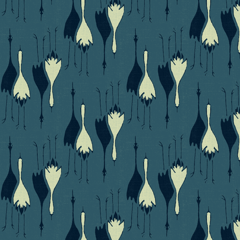 Cranes- dark, med, light blue fabric by materialsgirl on Spoonflower - custom fabric