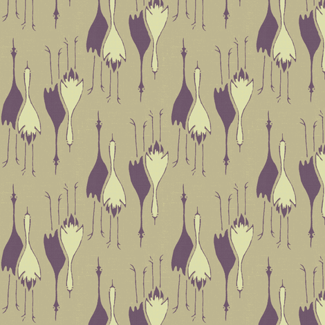 Cranes- purple, putty, off-white fabric by materialsgirl on Spoonflower - custom fabric
