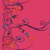 Art Nouveau hummingbird pink