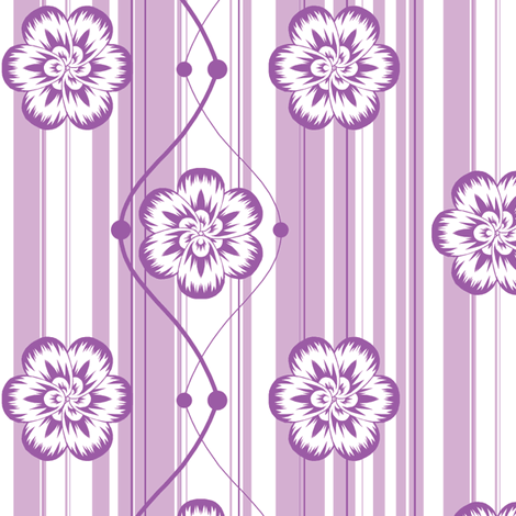 Monochrome floral - Purple fabric by bubblequartz on Spoonflower - custom fabric