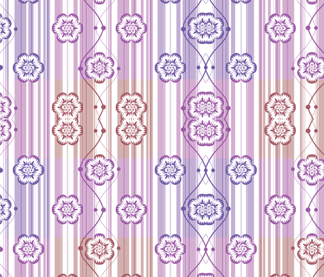 Purple checked floral fabric by bubblequartz on Spoonflower - custom fabric