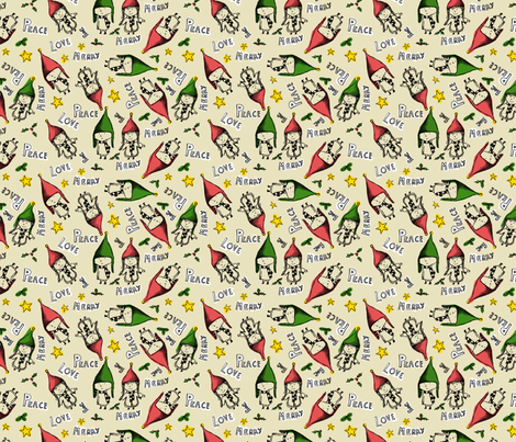 elves_pattern_bw fabric by lusyspoon on Spoonflower - custom fabric