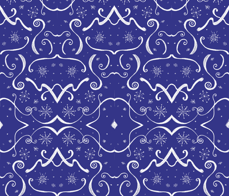 Art_Deco_White_snowflake fabric by rennata on Spoonflower - custom fabric