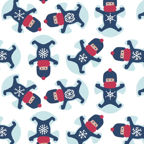 Snowflake Snow Angels fabric by mongiesama on Spoonflower - custom fabric