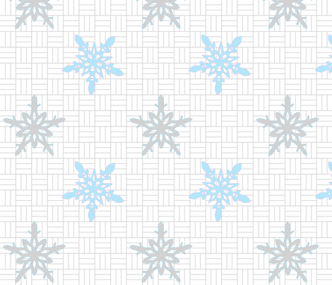 snowflake_gray_blue__pink fabric by renateandtheanthouse on Spoonflower - custom fabric