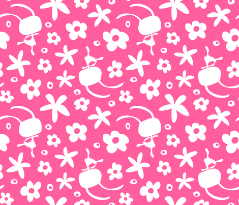 Happy go lucky - dance (pink) fabric by voici_eline on Spoonflower - custom fabric