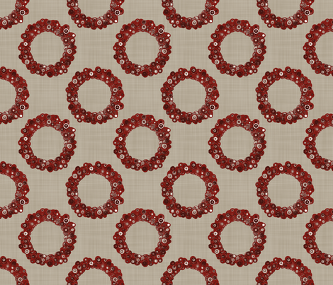 Button Wreath - Red & Tan