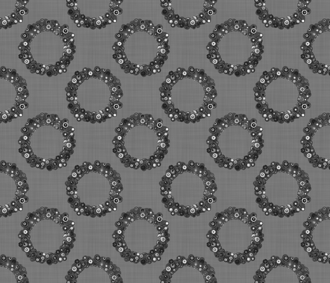 Button Wreath - Gray fabric by dianef on Spoonflower - custom fabric