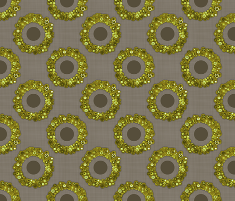Button Wreath - Vintage Green fabric by dianef on Spoonflower - custom fabric