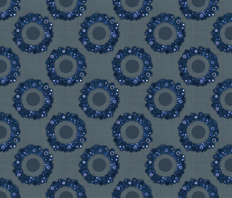 Button Wreath - Navy fabric by dianef on Spoonflower - custom fabric