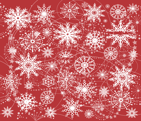 Little Flakey Christmas (RED) fabric by deeniespoonflower on Spoonflower - custom fabric