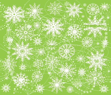 Little Flaeky Christmas (GREEN) fabric by deeniespoonflower on Spoonflower - custom fabric