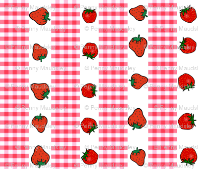 STRAWBERRIES AND GINGHAM STRIPES