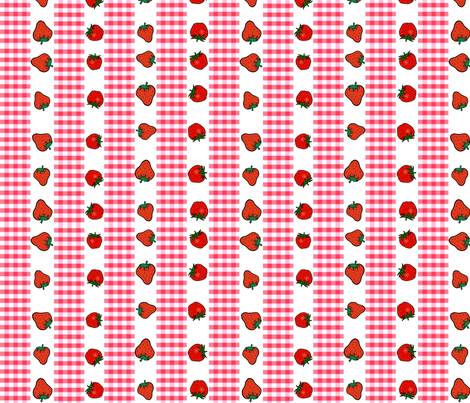 STRAWBERRIES AND GINGHAM STRIPES fabric by bluevelvet on Spoonflower - custom fabric